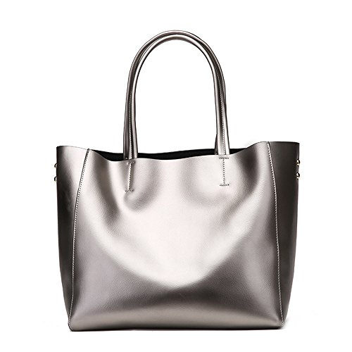 Summer Lady Shopping Leather Large Handbags Gray Women Messenger Bronze Silver Bag Tote Bags color Shoulder Winter Capacity Yamyannie 1xgdwq7RP1