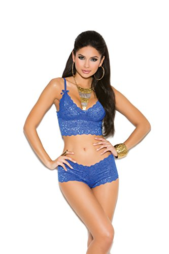 Zabeanco Stretch Lace Booty Shorts and Matching Cami Top with Satin Bow Detailing and Adjustable Straps (Royal, (Cami Booty Shorts)