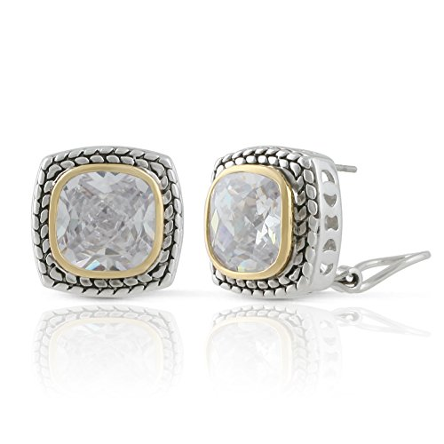 JanKuo Jewelry Two Tone Vintage Style Cubic Zirconia French Clip Earrings