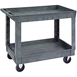 "Lakeside 2523 Deep Well Plastic Utility Cart; 500 Lb Capacity, 2 Shelf, 24""X36"" - Charcoal"