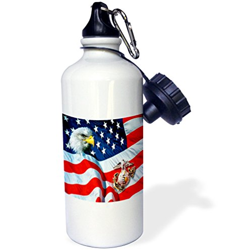 3dRose wb_768_1 US Marines Sports Water Bottle, 21 oz, White by 3dRose