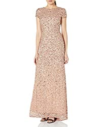 Rosegold Short-Sleeve All Over Sequin Gown