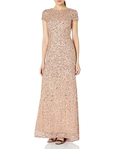 Adrianna Papell Women's Short-Sleeve All Over Sequin Gown, Rosegold, 10