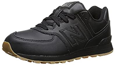 New Balance KL574P Leather Pack Running Shoe (Little Kid), Black, 11 W US Little Kid