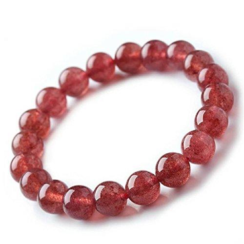 LiZiFang Natural Strawberry Quartz Crystal Round Bead Bracelet Women Men 10mm