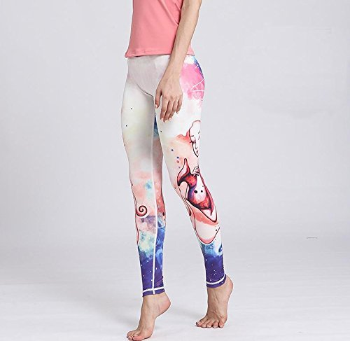 NAERFB Women with high fitness size yoga sports trousers printed Leggings Stretch constellation (Aquarius Stretch Belt)