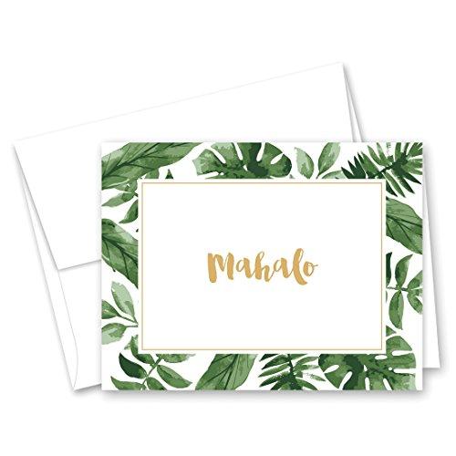 50 cnt Watercolor Palm Leaves Hawaiian Mahalo Thank You Cards]()