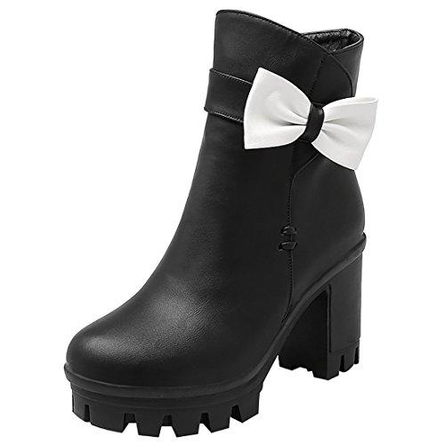 Artfaerie Women's Faux Fur Platform Ankle Boots with Bowtie Block High Heel Winter Cute Shoes Black
