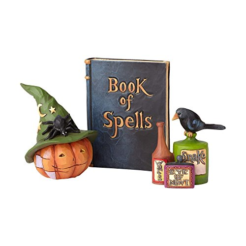 (Enesco Jim Shore Heartwood Creek Witch Pumpkin Head/Spellbook)