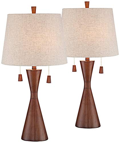 Omar Mid Century Modern Table Lamps Set of 2 Brown Wood Oatmeal Tapered Drum Shade for Living Room Family Bedroom Bedside - 360 - Plus Lamps Modern Lamp Table
