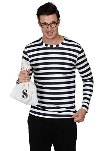 Arvilhill Christmas Men Costume Bank Thief Robber Cosplay Black and White Striped Long Sleeve Party Shirts ()