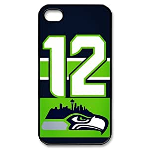 JIUBIE Custom Cover NFL Seattle Seahawks 12th MAN NO.12 for iPhone 4/4S Hard Plastic Case