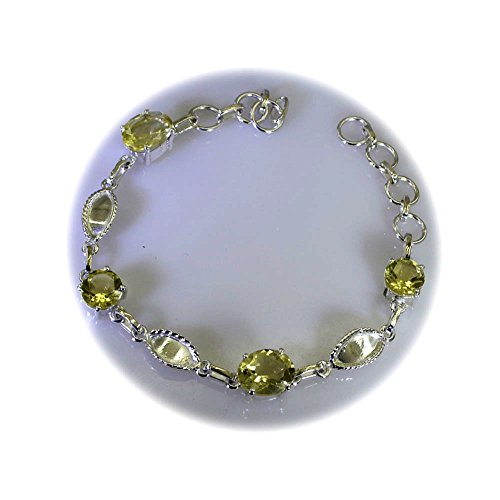 Gemsonclick Genuine Lemon Quartz Silver Friendship Bracelet For Women Link Style Spring-ring L 6.5-8 Inch
