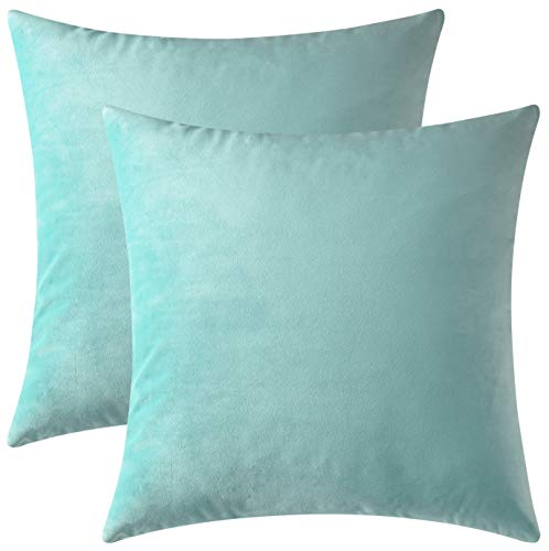 Mixhug Set of 2 Cozy Velvet Square Decorative Throw Pillow Covers for Couch and Bed, Turquoise, 18 x 18 Inches
