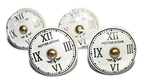 - Set of 4 Ceramic Knob Clock Design with White Base Handpainted Cabinet Knob Cupboards and Dresser Drawers Knob - (OHK0038)