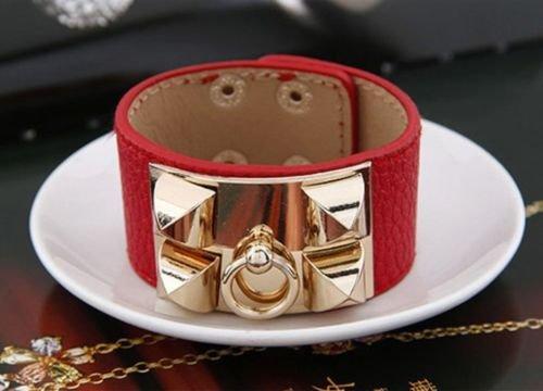Pyramid Wristband (Red - New Retro Women Punk Stud Pyramid Metal Leather Wristband Bangle Bracelet Cuff)