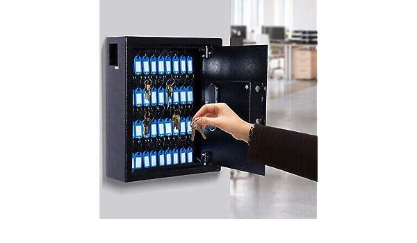 Festnight Steel Key Cabinet Hooks Wall Mounted Storage Boxes 48 Hooks with Key Lock