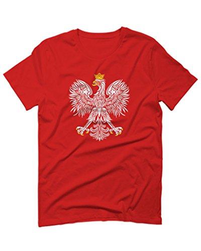 Vintage Poland flag Coat of Arms polska Polish For men T Shirt (Red, Medium) (Poland Coat)