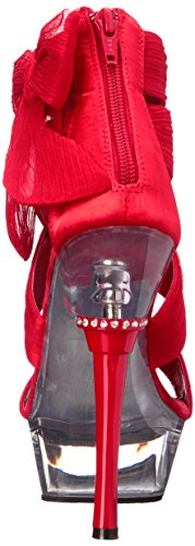 Pleaser Chiffon Red Sandal 664 Clear Women's RCF Platform Allure C rRrxp80