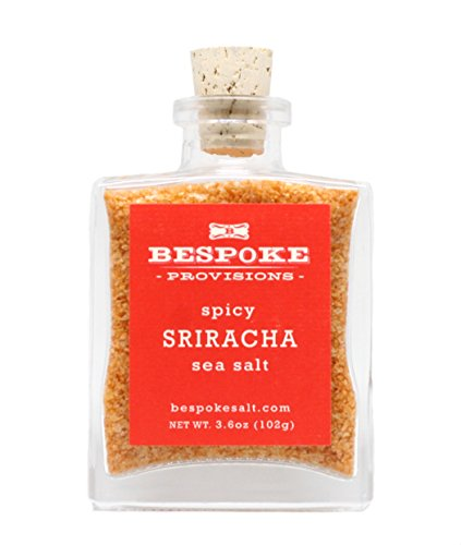 Gourmet Sriracha Sea Salt by Bespoke Provisions – Kosher Sriracha Infused Sea Salt Perfectly Flavored for Seasoning Any Meal, 3.6 oz Artisanal Glass Bottle with Gift Box