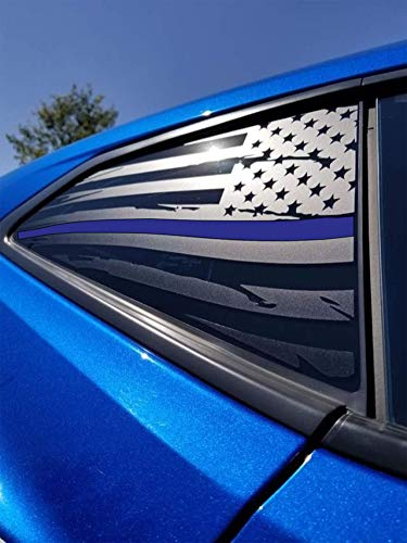 Elevated Auto Styling - Chevy Camaro Distressed Thin Blue Line American Flag Rear Quarter Window Decal Pair, Matte Black (2016-2018) -