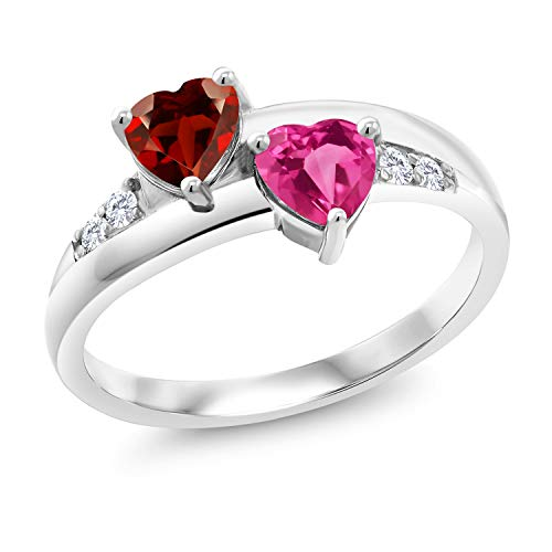 Gem Stone King 1.23 Ct Heart Shape Red Garnet Pink Created Sapphire 925 Sterling Silver Lab Grown Diamond Ring (Size 9)