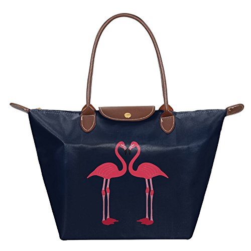 Flamingo Birds Love Heart Women's Folding Bag,Repellent Polyamide Handbag For - Online Sunglasses Shopping Imported
