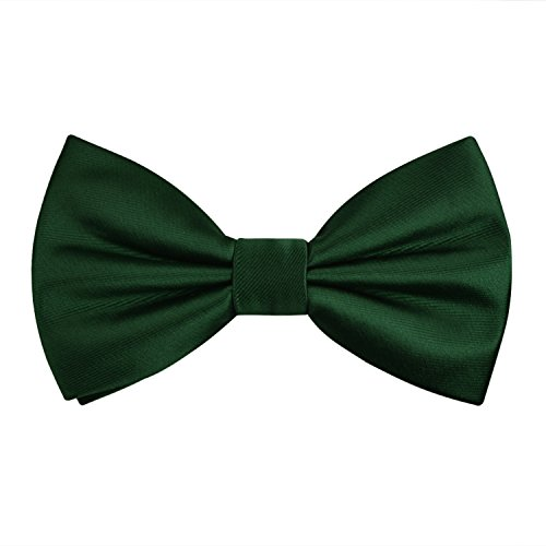 Alizeal Pre-Tied Adjustable Bow Tie for Men Formal Solid Tuxedo Bow Tie, Dark Green ()