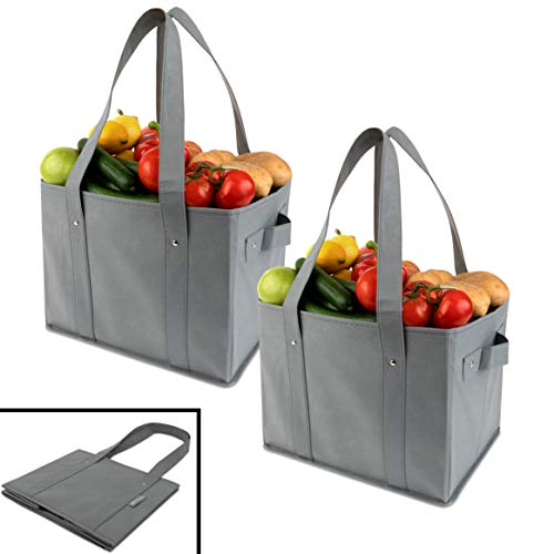 Flat Bottom Tote Bags - Clean Carry Reusable Grocery Shopping Bags - Large Collapsible Boxes With Strong Bottoms + Bonus Insert For Reinforcement (Set of 2) (Large 13