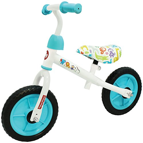 "Fisher Price 10"" Balance Bike, White/Blue"