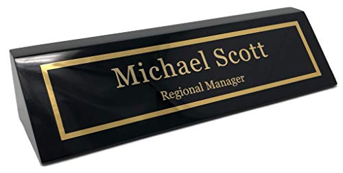Personalized Business Desk Name Plate, Black Piano Finish - Free Engraving]()