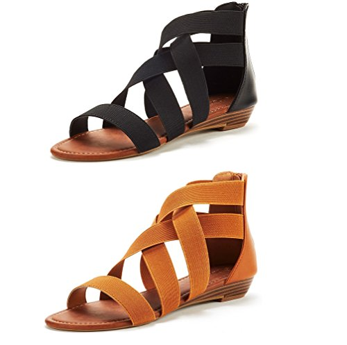Womens Tan Black Shoes - DREAM PAIRS Women's ELASTICA8 Black and Tan (2 Pairs) Elastic Ankle Strap Low Wedges Sandals Size 9 M US