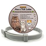 COSYWORLD Flea and Tick Collar for Cats - 100% Natural Essential Oil Flea & Tick Prevention - Adjustable - Safe & Waterproof Flea Control Collar - 8 Months Protection