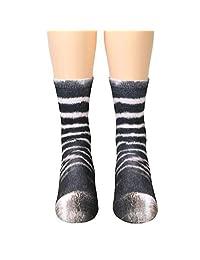 WM & MW Funny Animal Paw Socks for Children Kids 6-12 Years Old Novelty 3D Print Socks Slipper Socks Crew Socks