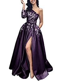 Long Prom Evening Dresses for Women, One Sleeve Floral Lace Applique Front Slit A line Floor Length Gowns