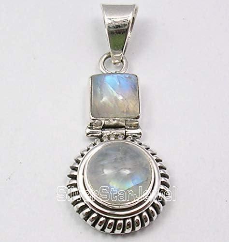 SilverStarJewel Natural Cab Rainbow Moonstone Necklace Pendant 3.6 cm 925 Pure Silver