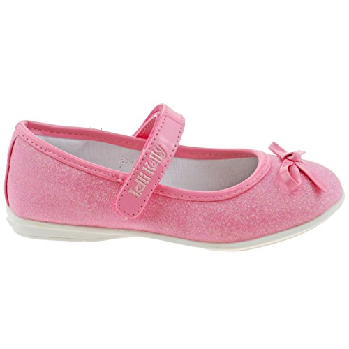 Lelli Kelly LK5700 (LC01) Glitter Rosa Ambra Bow Dolly Shoes -31 (UK 12.5)