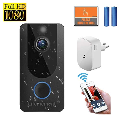 Wireless Doorbell WiFi Smart Video Doorbell 1080P HD Smart Security Camera Doorbell with Real Time Push Alerts Night Vision Weather Resistant Free Cloud Recording New Upgraded (Batteries Included)