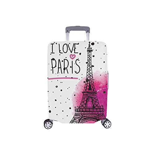 InterestPrint I Love Paris Eiffel Tower Travel Luggage Case Baggage Suitcase Cover Fits 18''-21'' Luggage by InterestPrint