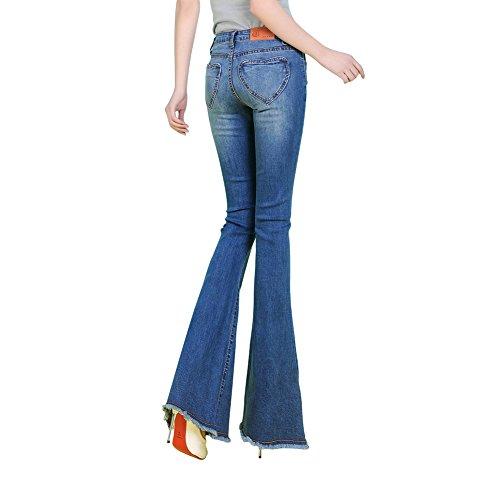 60s di svasati Blu 70s Bell bottom Jeans stile Donna elastico nappe con Denim Mena Jean Fq4Y5Hxw