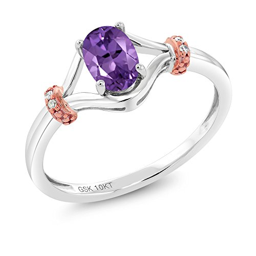 38 Ct Oval Purple Amethyst and Diamond Engagement Ring (2 Tone Amethyst Ring)
