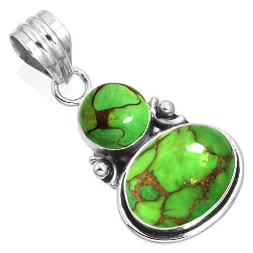 925 Sterling Silver Pendant Copper Green Turquoise Handmade Jewelry ()