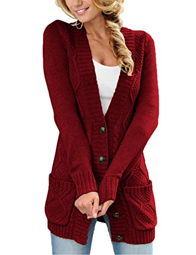 - Kalin Women Open Front Button Down Chunky Cable Knit Cardigan Sweater Coat with Pockets Red