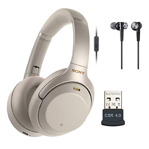Sony WH-1000XM3 Wireless Noise-Canceling Over-Ear Headphones (Silver, USA Warranty), in-Ear Headphones (White) and USB Bluetooth Adapter Bundle