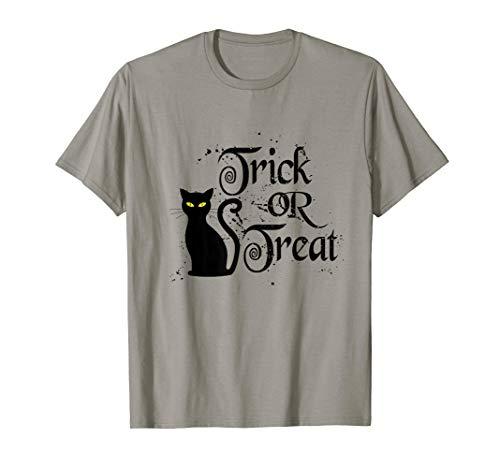 Black Cat Trick Or Treat Halloween Long Sleeve T-Shirt -