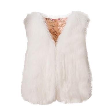 d430f3c10c4205 Gilet Apmle Faux Fur sans Manche Manteau Fausse Fourrure à La Mode Couleur  Unie Vintage Vestes