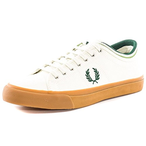Fred Perry Men's Kendrick Tipped Cuff Canvas Fashion Sneaker, Porcelain/Ivy/Watercress, 6.5 UK/7.5 M ()
