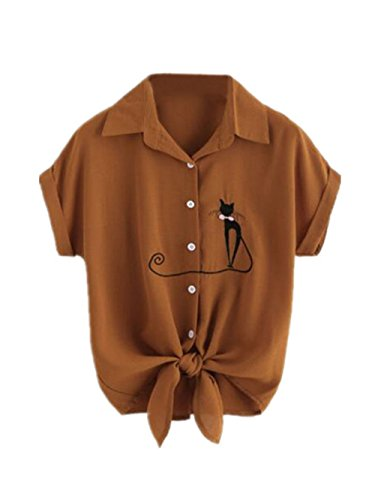 T Leger Blouse Courtes Haut Chemises Chemises Gogofuture Manches Revers Brod Vogue Femme Brown Tunique Elegant Shirt Top Mode q10waS8
