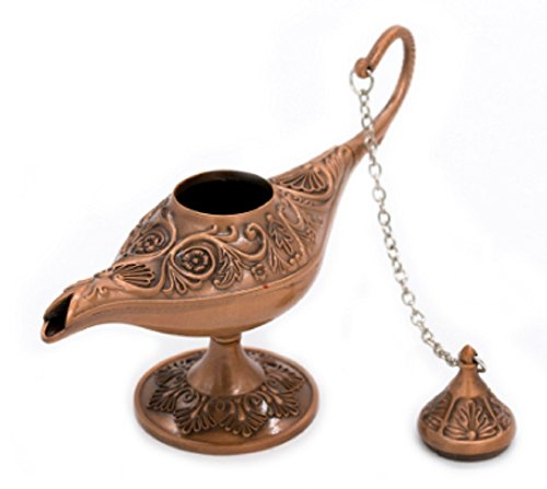 Homespun Red Bronze Metal Aladdin Magic Lamp 12 x 5 x 8 Cm Retro Wishing Oil Lamp Aladdin Genie Lamp Incense Burner Home Decor Gift Child Toy - Bronze Renaissance Three Light