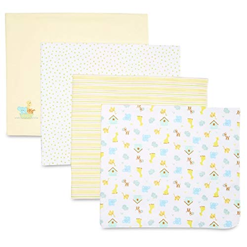 SpaSilk Unisex Baby 4 Pack 100% Cotton Flannel Receiving Blanket, Yellow, One Size